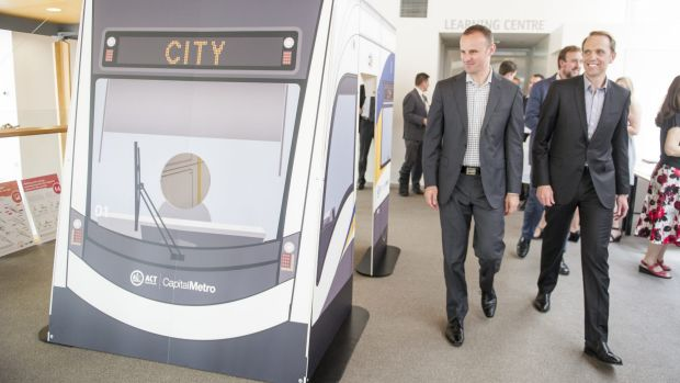 Chief Minister Andrew Barr and Capital Metro Minister Simon Corbell.