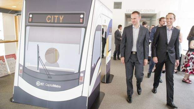 Some danger for pedestrians: Chief Minister Andrew Barr, left, and Capital Metro Minister Simon Corbell launch the ...