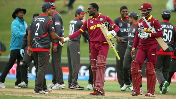 The West Indies made an unspectacular entry into the quarter-finals after defeating the UAE.