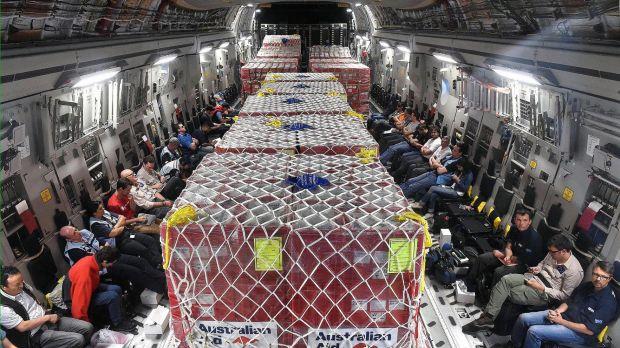 Aid onboard an Australian RAAF C-17 Globemaster on its way to Port Vila.