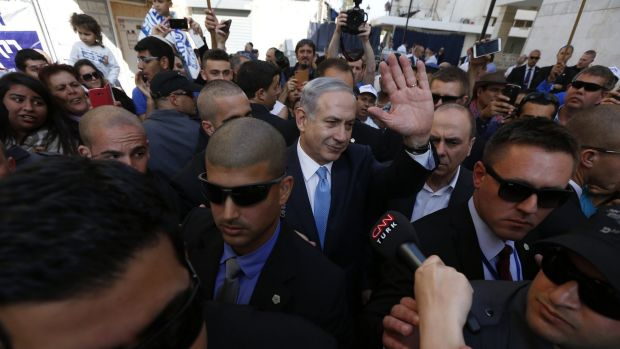 Israel's Prime Minister Benjamin Netanyahu campaigns in the southern city of Ashkelon on Tuesday.