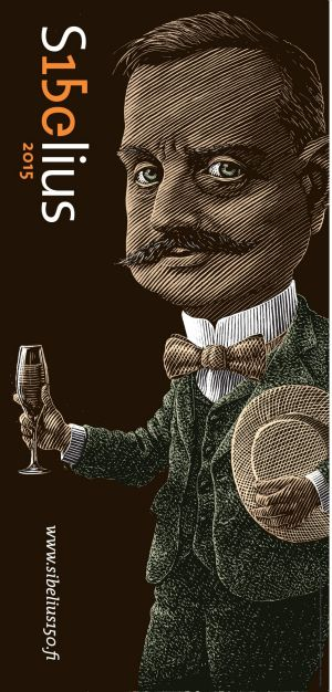 Sibelius, a famously natty dresser, in an official 150th birthday poster.