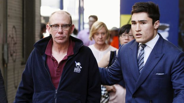Keith Hunter leaving Sydney Central Local Court on bail facing bribery charges.