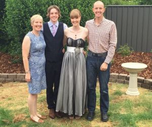 Zoe with her mother Alison Abernethy, brother Angus and father Rob Marshall.