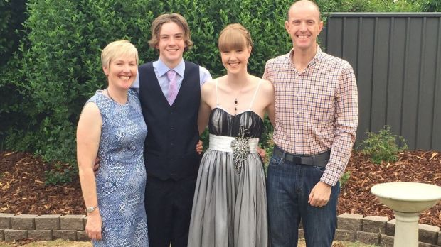 Zoe Marshall with her mother Alison Abernethy, brother Angus and father Rob Marshall in December.