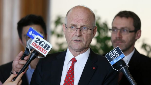 Chris Teoh and Ivan Hinton from Australian Marriage Equality, with LDP senator David Leyonhjelm on Thursday.