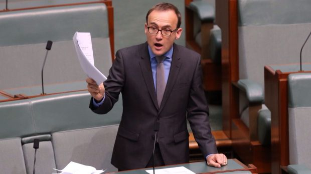 Opposed to the laws: Greens MP Adam Bandt questions the Communications Minister on 74 amendments to the Data Retention Bill.