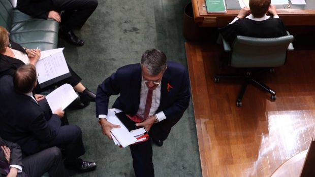 Mark Dreyfus leaves after being ejected from the House.