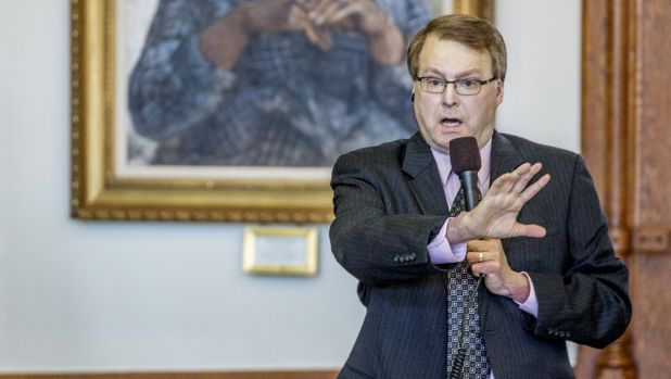 Let students arm themselves ... Senator Brian Birdwell tries to explain language in a bill that will let students carry ...