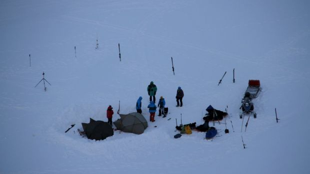 A general view shows a camp in Fredheim, some 50 kilometres north of Longyearbyen, where a tourist was injured by a ...