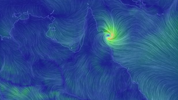 Cyclone Nathan on Friday morning as it hit the Queensland coast.