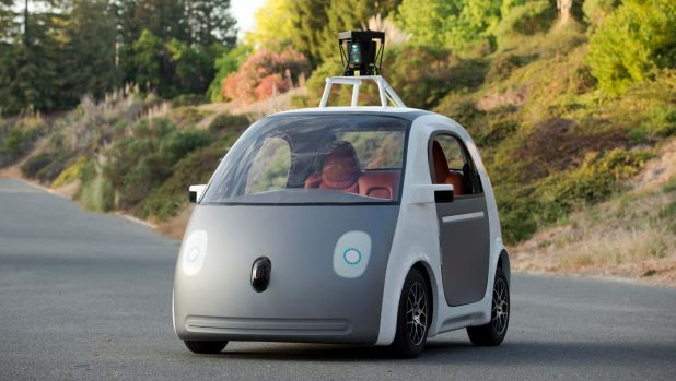 A prototype of a Google self-driving car, in Mountain View, California in 2014. The company is building cars without ...