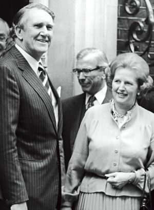 Then British prime minister Margaret Thatcher greeting her Australian counterpart Malcolm Fraser at Downing Street, ...