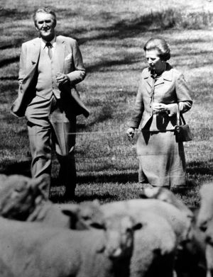 Former prime minister Malcolm Fraser and the then British prime minister Margaret Thatcher at a sheep handling ...