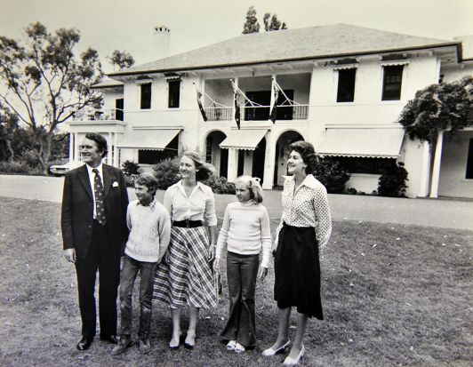 Former Prime Minister Malcolm Fraser and his family move into the Lodge in canberra. Pictured with 12 year old Hugh, 16 ...