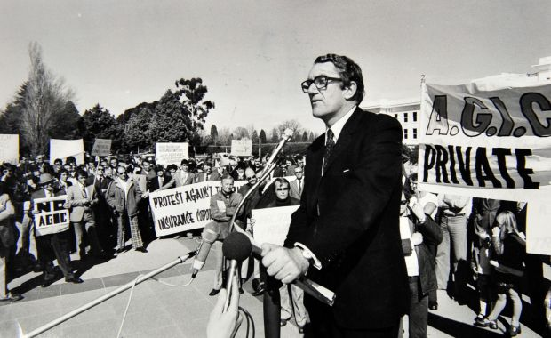 Former Prime Minister Malcolm Fraser as the leader of the Opposition addresses protesters to the government insurance ...