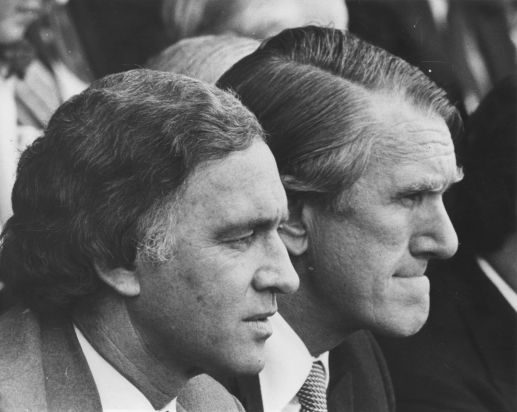 Andrew Peacock and  Malcolm Fraser sitting watching the Cup.