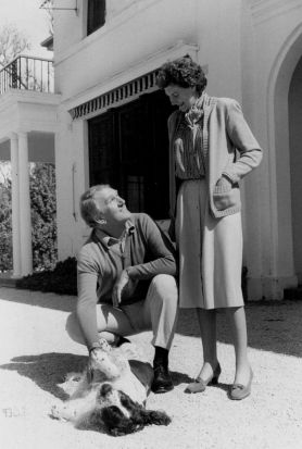 "Fornmer Prime Minister Malcolm Fraser and wife Tamie with their Dog ""Droopy"" at ""The Lodge"""