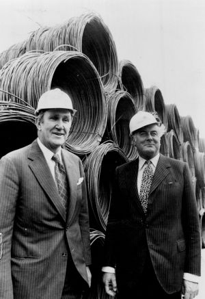 Prime Minister Malcolm Fraser and Opposition Leader Gough Whitlam at the opening of a steel mill in Geelong in 1976.