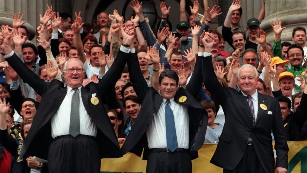 """The final """"Yes"""" rally held at Parliament House in Melbourne with. Malcolm Fraser, Steve Bracks and Gough Whitlam. Photo: ..."""