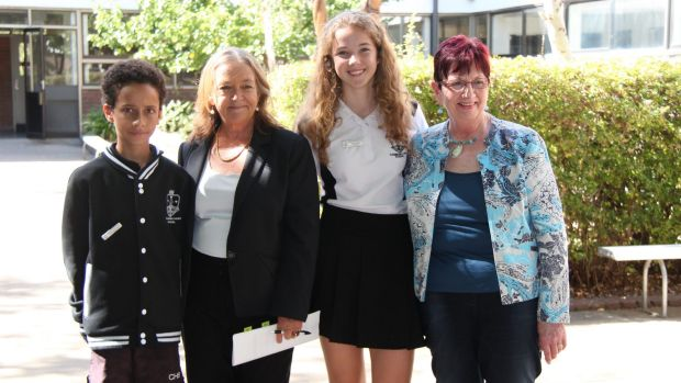 Canberra High School captains Mitchell Costello and Ineka Voigt with Minister for Education Joy Burch, and Member for ...