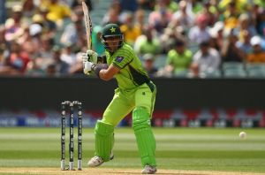 Lucky escape: Misbah-ul-Haq bats during the World Cup quarter-final against Australia at the Adelaide Oval.