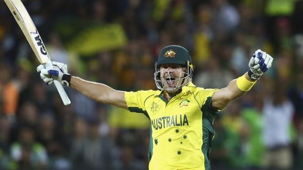 Shane Watson celebrates after Australia defeated Pakistan to enter the World Cup semi-finals.