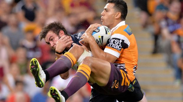 High flyer: Broncos fullback Jordan Kahu has his best game in the NRL.