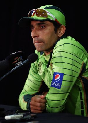 Misbah-ul Haq speaks to the media after the game.