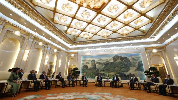 China's President Xi Jinping (4th from the right) and guests at the Asian Infrastructure Investment Bank (AIIB) launch ...