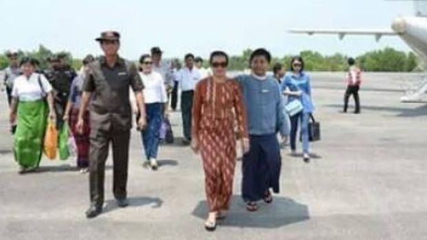 Something has gone awry in this photo released by the Ministry of Information of Myanmar.