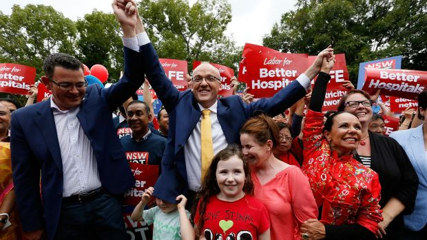 Promising change: Labor leader Luke Foley  attends a Labor rally at Burwood on Sunday with Victorian premier Daniel ...