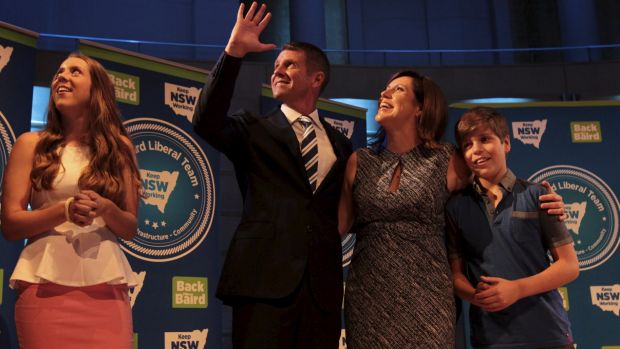 Mike Baird with wife Kerryn and their children