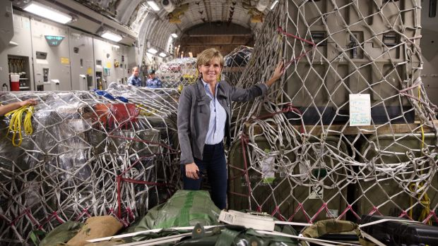 Foreign Affairs Minister Julie Bishop with Australian aid supplies bound for Vanuatu earlier this year.
