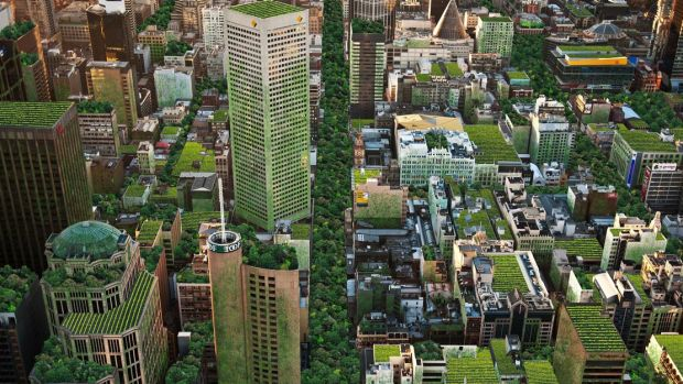 An artist's impression of Melbourne covered in rooftop gardens and roadway park created by Anton Malishev as part of the ...