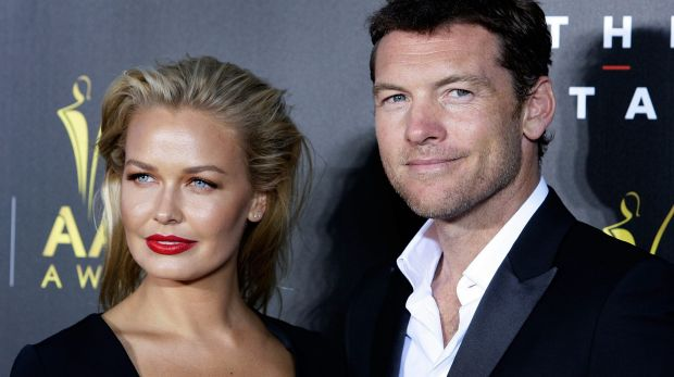 New parents: Lara Bingle and Sam Worthington.