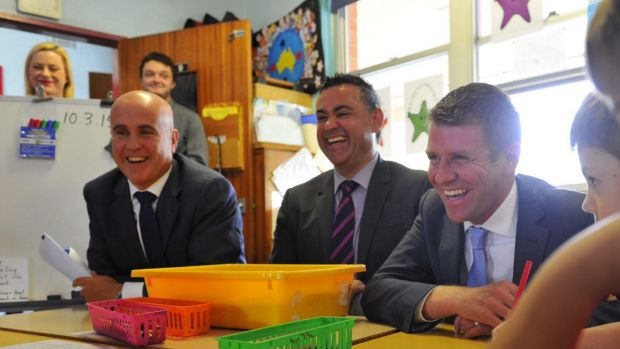Education Minister Adrian Piccoli, Skills Minister John Barilaro (centre), and NSW Premier Mike Baird. The free TAFE ...
