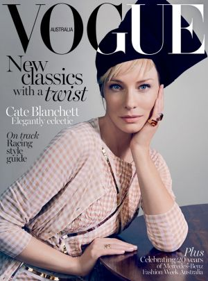 Cate Blanchett on the cover of the April issue of Vogue Australia.