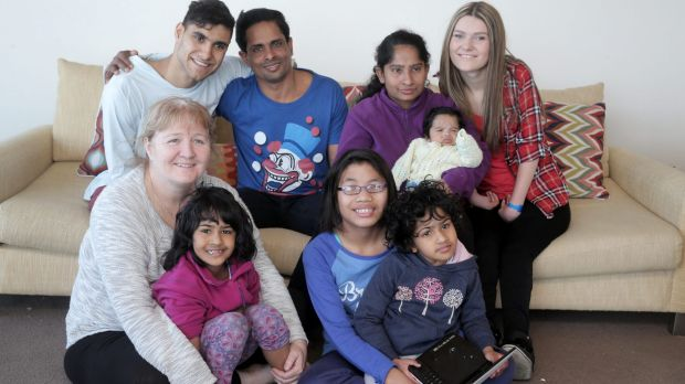 Moira Kelly pictured with her growing family last year Trishna, (in lap), Papa Oo, and Krishna. Back: Emmanuel, Katick ...
