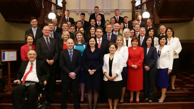 The QLD Labor caucus after swearing in at Parliament House.