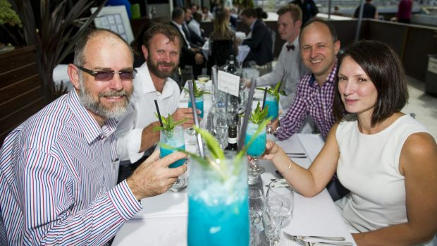 (L-R) John Reed, Pete Shaw, Paul Middleton and Lyndell Roberts of XACT enjoying the Blue themed Long Lunch for Asthma at ...