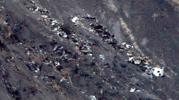 Smashed remnants of the Germanwings passenger jet scattered near Seyne-les-Alpes, French Alps.