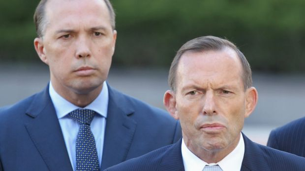 Immigration Minister Peter Dutton with Prime Minister Tony Abbott.