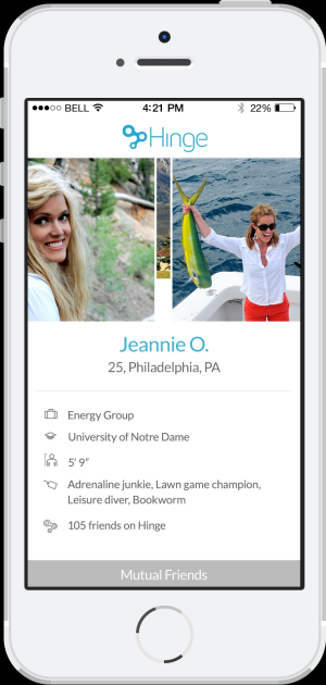 Hinge profiles show a user's workplace, education, height and hobbies.