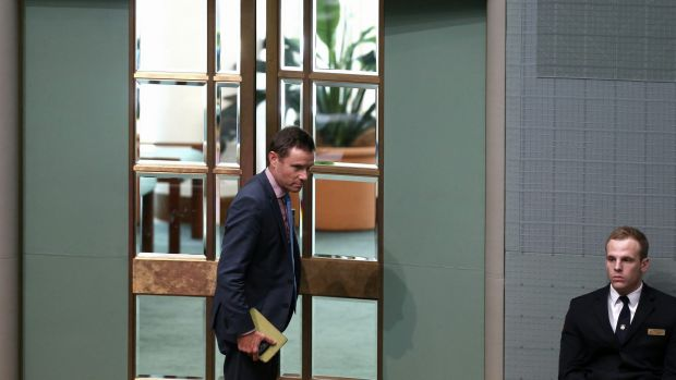 Liberal MP Andrew Laming leaves after being named by Speaker Bronwyn Bishop ahead of Question Time at Parliament House ...