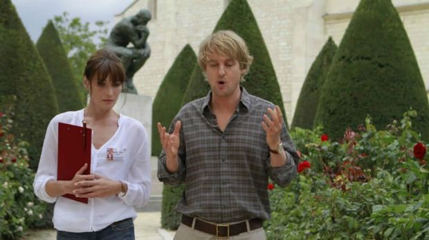 """And so my agent said..."": Carla Bruni (left) co-stars with Owen Wilson in the light Woody Allen comedy fantasy ..."