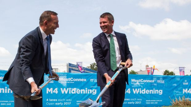 Then-Prime Minister Tony Abbott and NSW Premier Mike Baird at a Westconnex press event in March 2015.