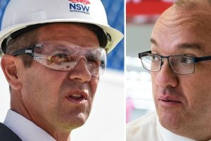 NSW Premier Mike Baird, left, and Opposition Leader Luke Foley in the last week of campaigning.
