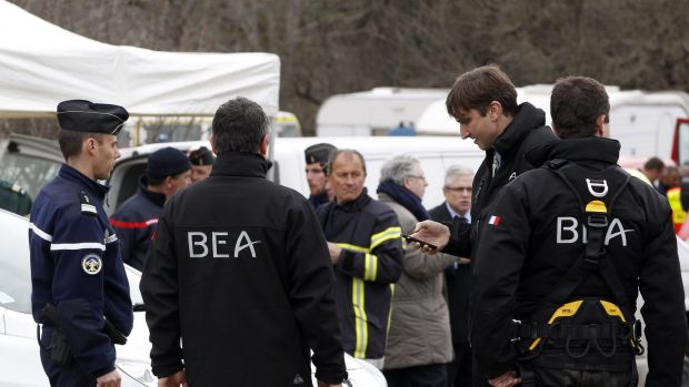 Members of the BEA, the French Air Accident Investigation Agency, in Seyne-les-Alpes.