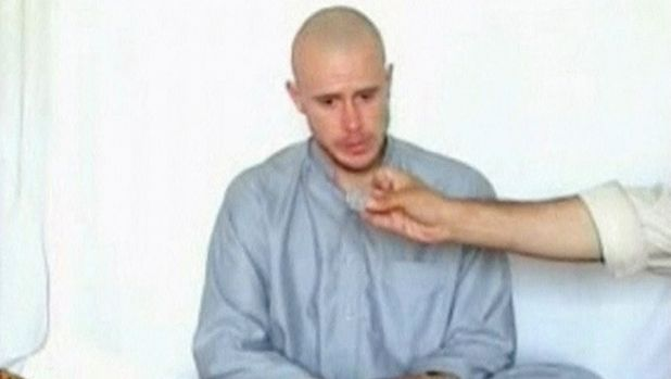 Bowe Bergdahl after he was captured in Afghanistan in a still image taken from a video.